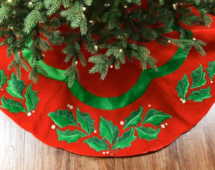 "48"" Velvet Christmas Tree Skirt with Holly"