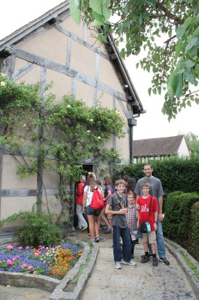 The author's family in front of Shakespeare's birthplace