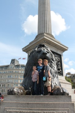 The author's children stand in front of one of the Trafalgar Lions