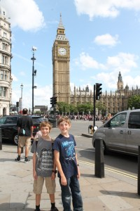 Two of the author's children stand in front of Big Ben