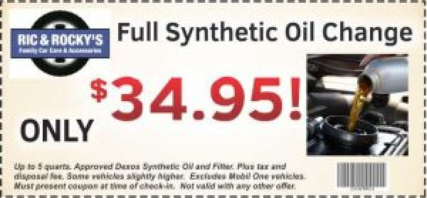 $34.95 synthetic oil change