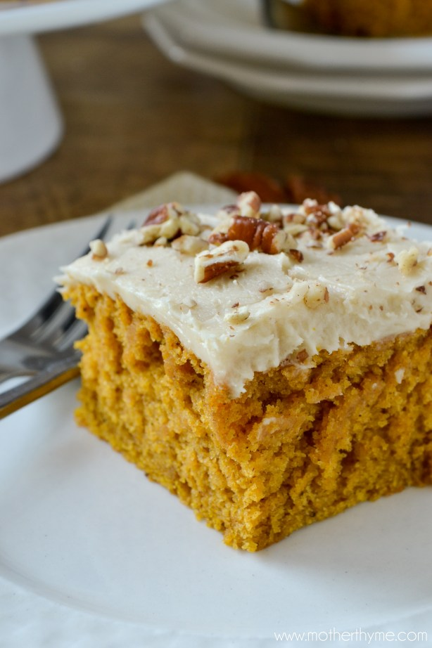 Easy Pumpkin Cake with Butter Pecan Frosting - Mother Thyme