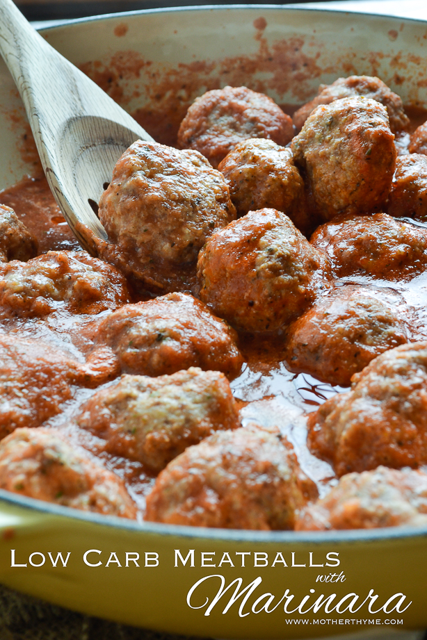 Low Carb Meatballs with Marinara from www.motherthyme.com