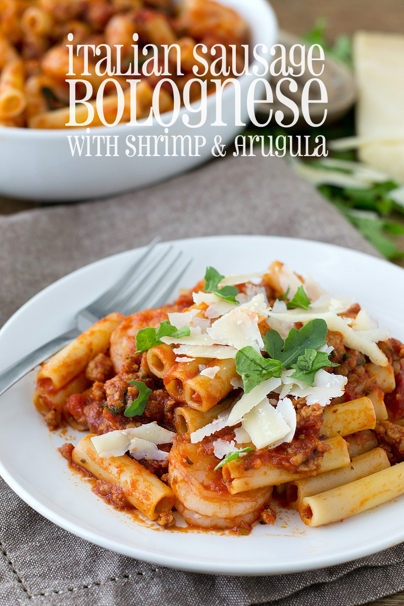 family around the table for this delicious Italian Sausage Bolognese ...