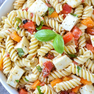 Roasted Red Pepper Bruschetta Pasta Salad