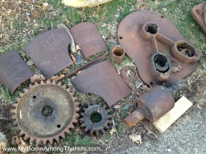 The Chattanooga Plow Company cane mill disassembled and ready to be restored