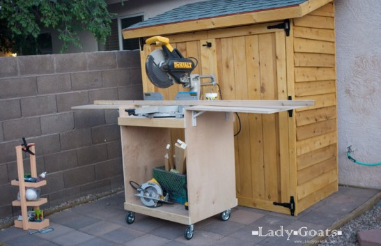 Diy Miter Saw Cart Using Ana White Plans The Diy Girl
