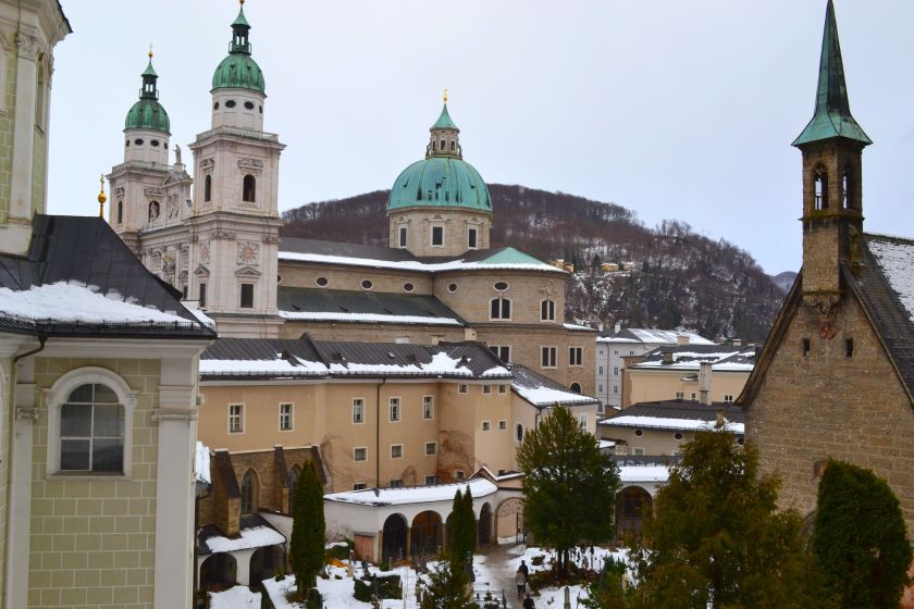 Salzburg catacombs, view from St. Peter's Abbey catacombs