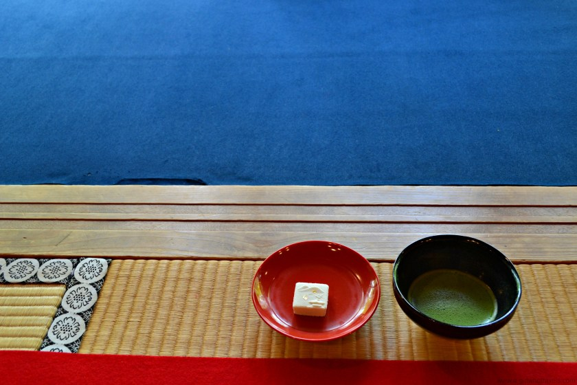 matcha tea at a Japanese temple Kinkaku-ji , tea ceremony