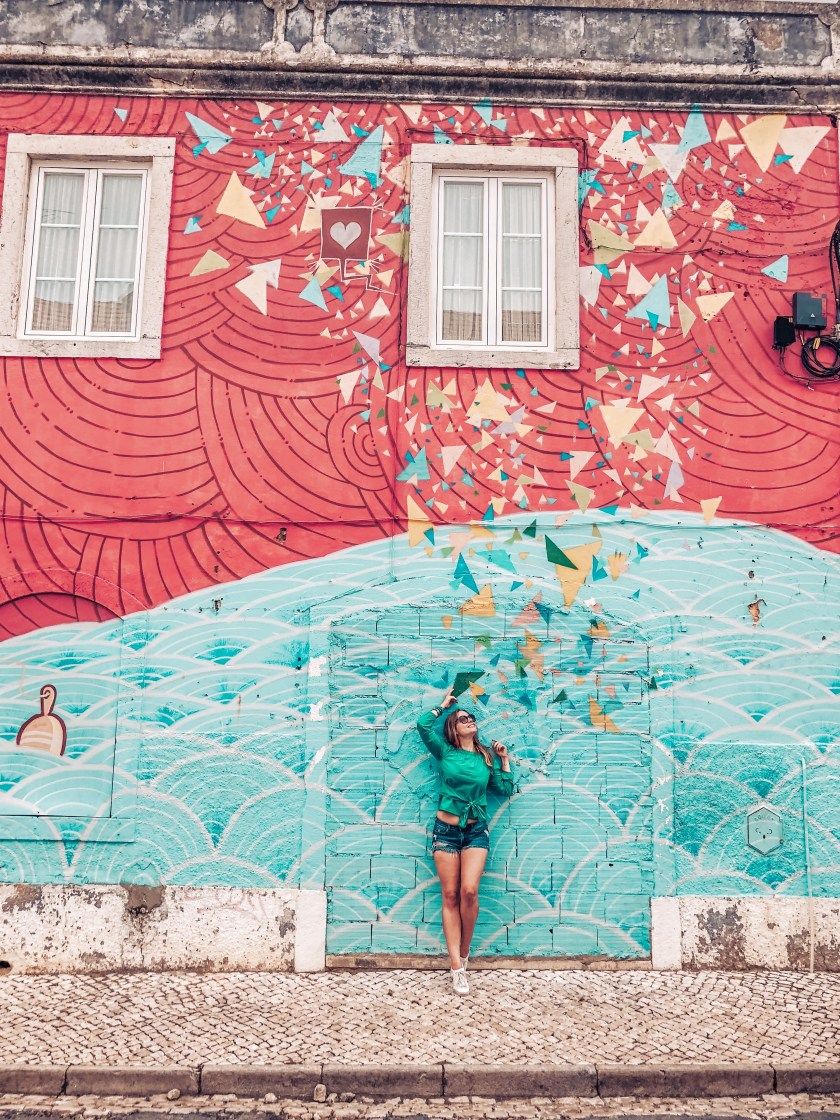 Cascais old town - colourful wall, Instagrammable wall Cascais
