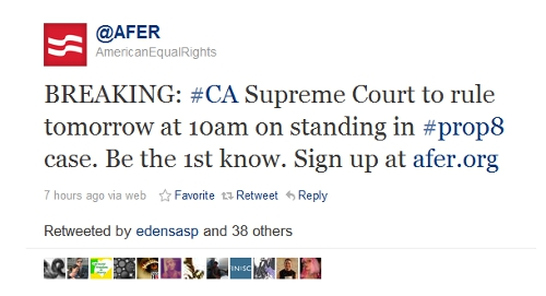 AFER's tweet announcing the Prop8 ruling today.