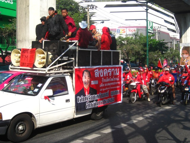 Red Shirt Protestors on Bangkok's Sukhumvit Road