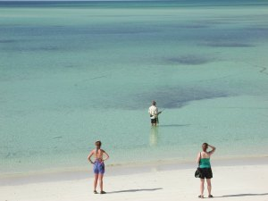 Bone fishing in front of Abaco Palms - with an audience!