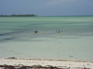 Paddling toward Duck Cay