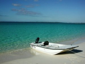 Our skiff beached at Little Bay.  You can see Casuarina Point in the background.