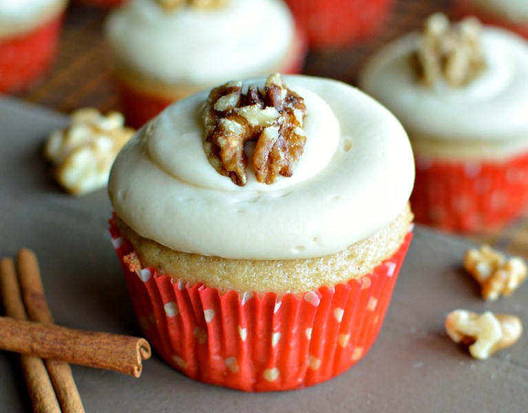 Apple Cider Cupcakes with Maple Cream Cheese Frosting | A baJillian Recipes