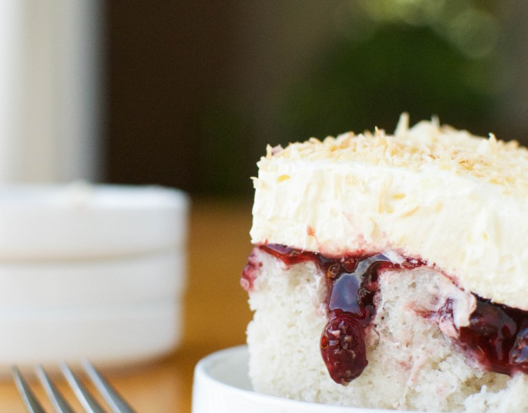 Raspberry Coconut Poke Cake | A baJillian Recipes