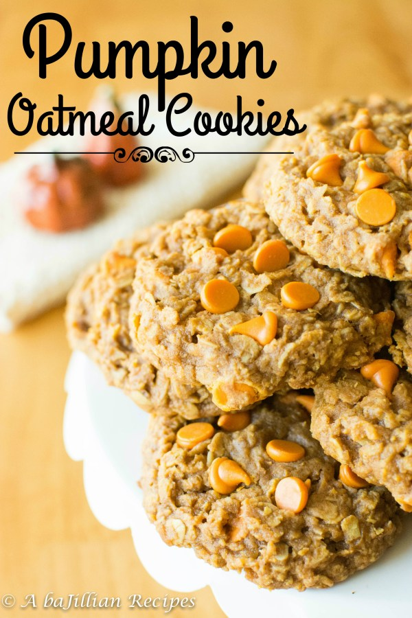 Pumpkin Oatmeal Cookies | A baJillian Recipes
