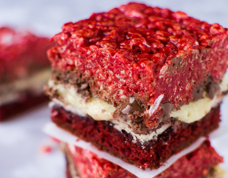 Triple the red velvet and triple the temptation in these Red Velvet Overload Bars!