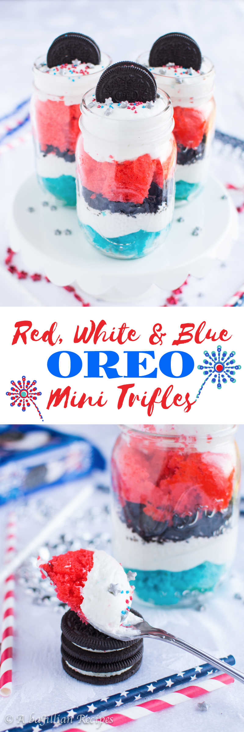 Red White And Blue Oreo Mini Trifles (collage)