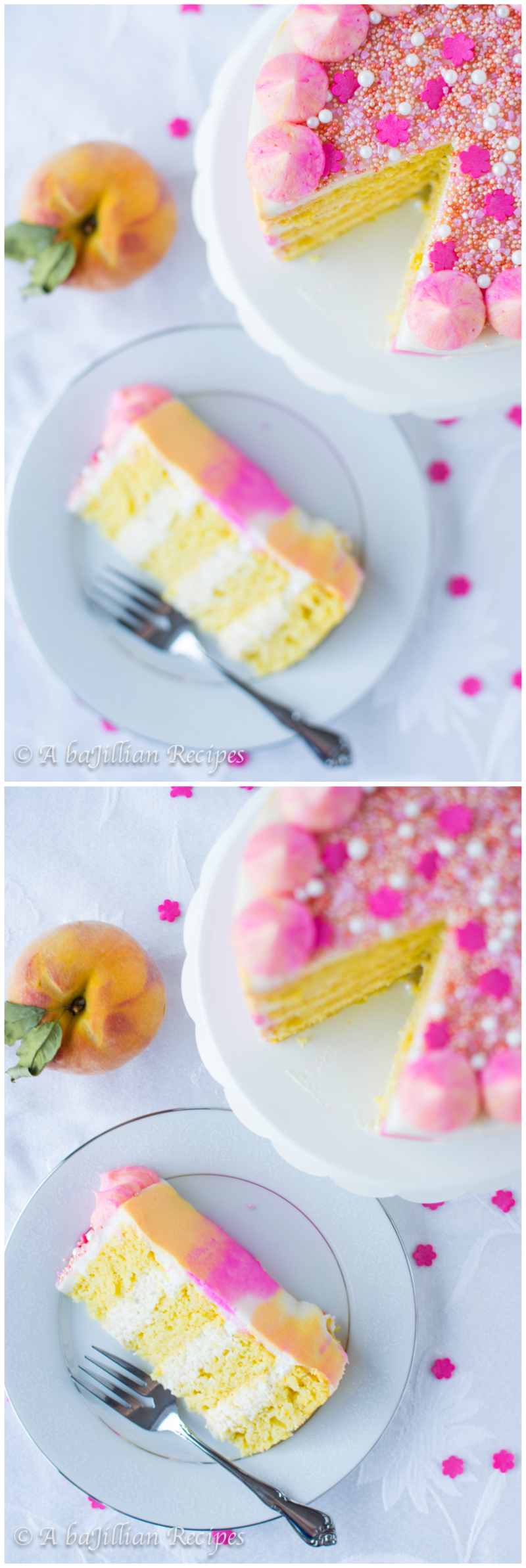 Peach Watercolor Cake | A baJillian Recipes2