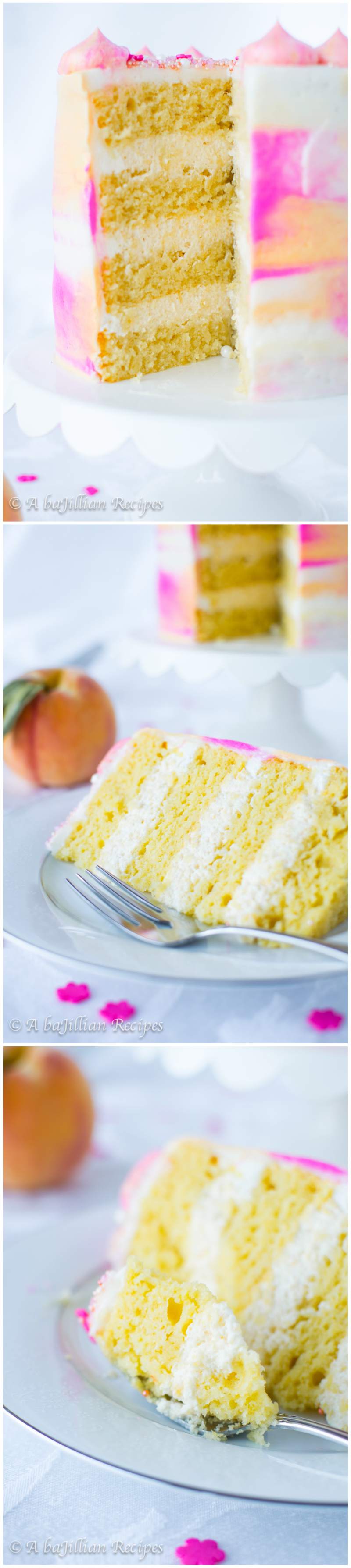 Peach Watercolor Cake | A baJillian Recipes3