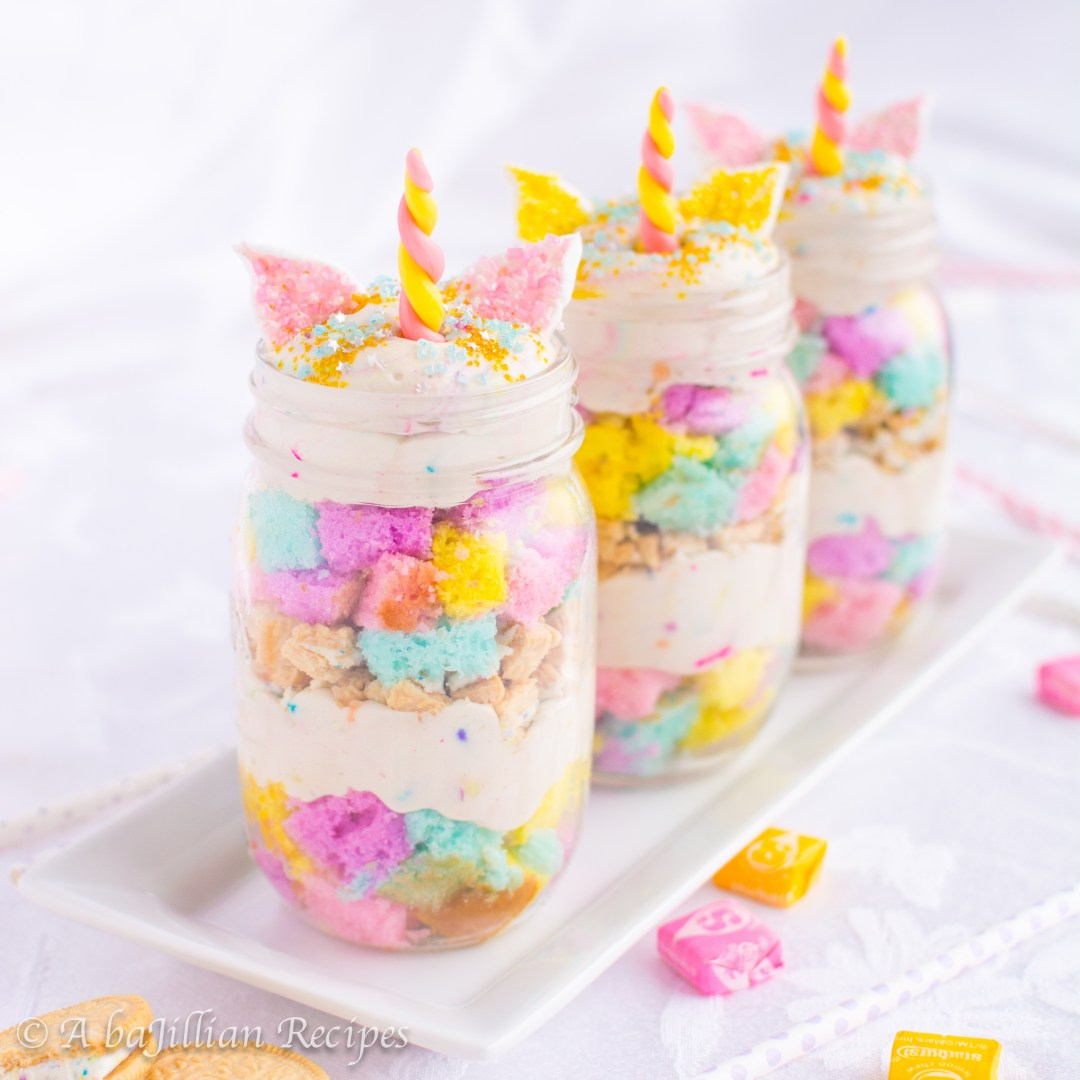 Unicorn party ideas, Fluffy cubes of colorful cake, sprinklelicious Funfetti mousse, and crushed Golden Birthday Cake Oreos! Probably the most magical trifle ever!