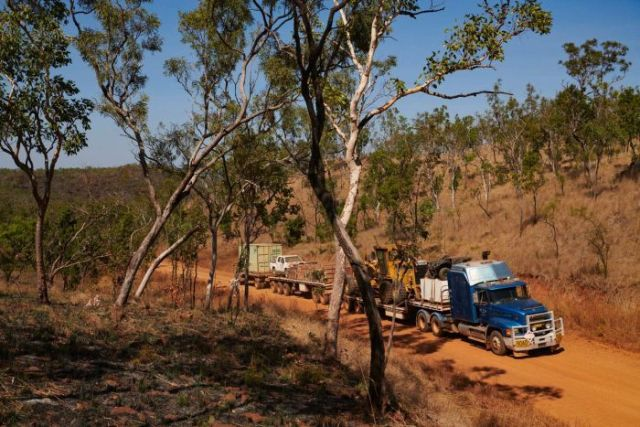 The Atkins' road train crawls up one of the steepest parts of road.