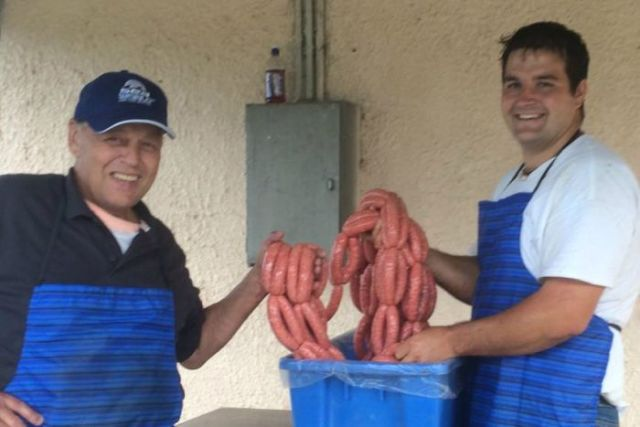 Mobile butcher Dave Bleathman with offsider Phil Bird
