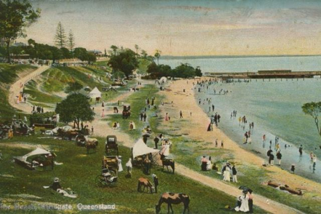 A coloured illustration of Sandgate Beach