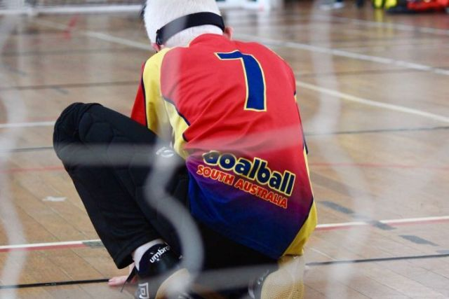 South Australian boy playing Goalball