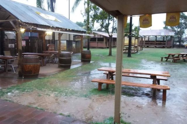 Wet pub beer garden at Nindigully Pub near St George in south-western Queensland