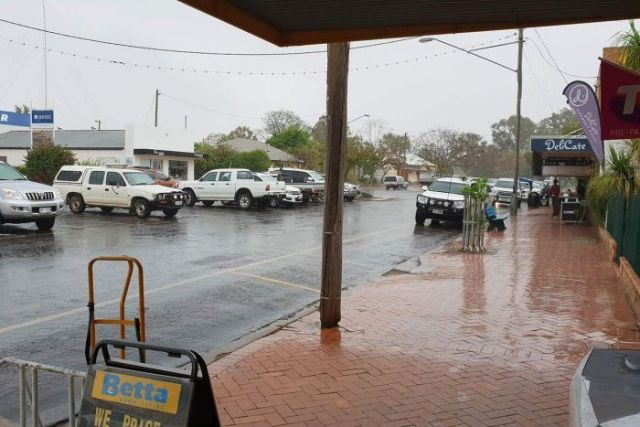 Rain in Henry Street at St George in southern Queensland.