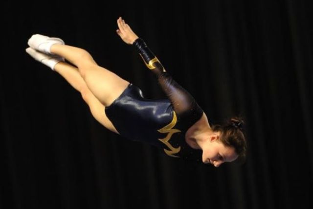 Trampoline athlete Claire Arthur performs her routine.