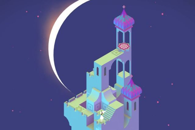 Colour screenshot of a scene from mobile game Monument Valley I.