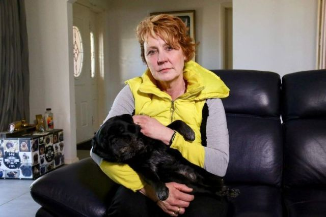 Felicity Prideaux poses with her dog.