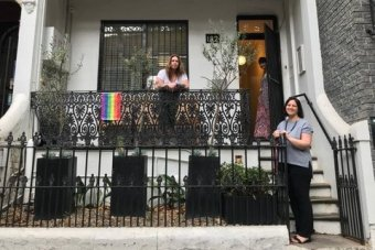 Case manager Jenny Holmes, volunteer coordinator Bec Fitzgerald and executive manager Nicole Yade stand outside Lou's place