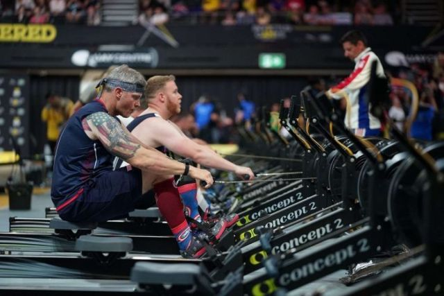 Competitors give their all during the indoor rowing event at the 2018 Invictus Games in Sydney.