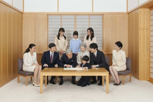 Japanese Emperor Akihito and Empress Michiko with the Imperial Family.