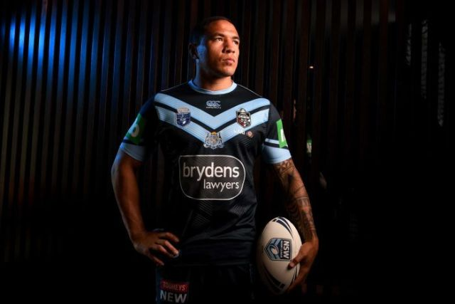 Tyson Frizell models the alternate NSW State of Origin kit