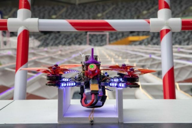 A racing drone from 2018 World Championships used in an attempt at the world record.