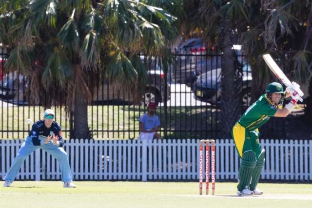 Steve Smith watches on as David Warner bats in grade cricket match
