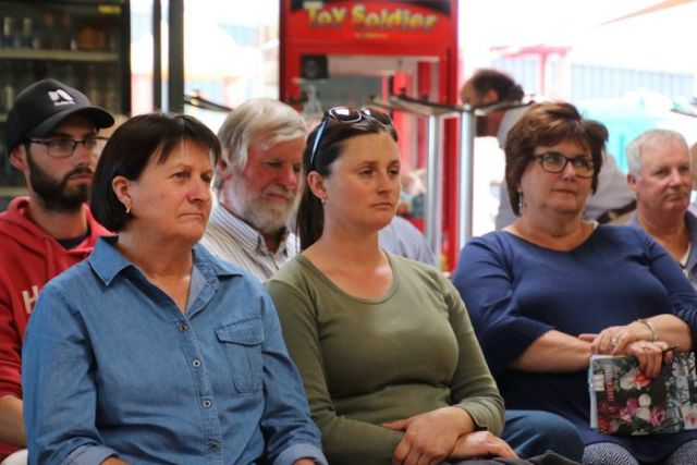 Attendees at a drought forum at Swansea, Tasmania.