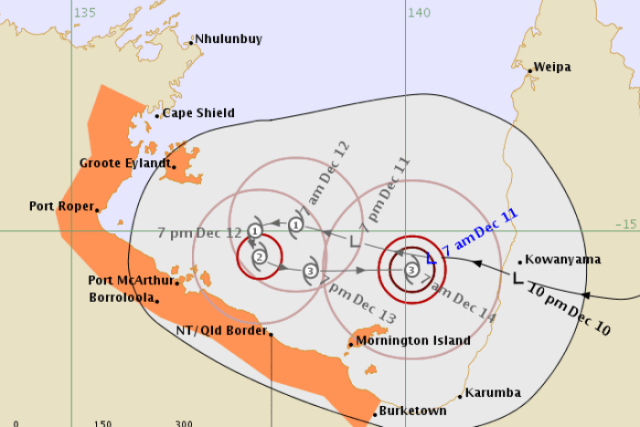 A cyclone map showing the areas at risk highlights north-western coastal regions of the Northern Territory.