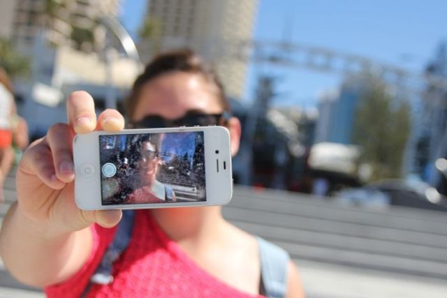 Tourist takes a selfie at Surfers Paradise, Gold Coast