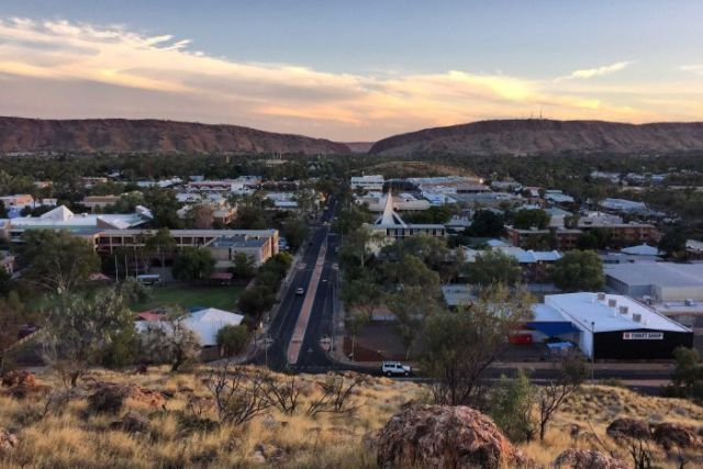 Looking down from Anzac Hill across the Alice Springs downtown area.