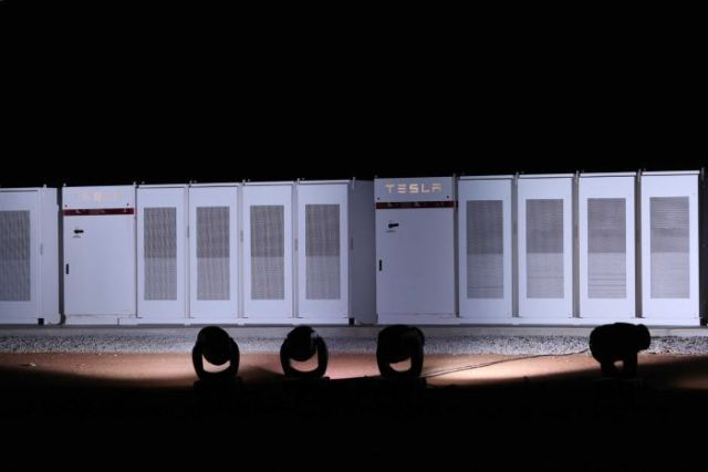 Tesla's giant battery near Jamestown at night.