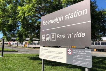 Beenleigh park and ride carpark sign and train station, south of Brisbane on February 4, 2018.