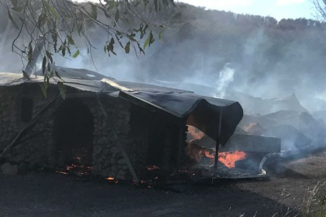 Building destroyed by fire at Bronte Park, Tasmania.