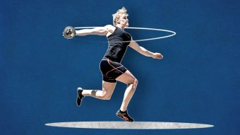 A stylised image of Dani Stevens launching into a discus throw